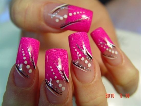 best 25 hot pink nails ideas on pinterest hot pink pedicure hot pink toes and summer shellac. Black Bedroom Furniture Sets. Home Design Ideas