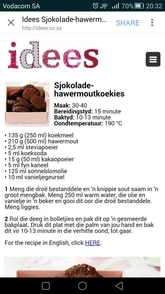 Sjokolade- hawermoutkoekies