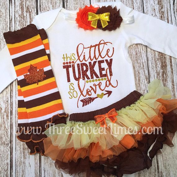 This Little Turkey Is So Loved Thanksgiving Baby Girl Fall Outfit First Turkey Day Baby Girl Clothes Toddler Shirt Chevron Leg Warmers Fall