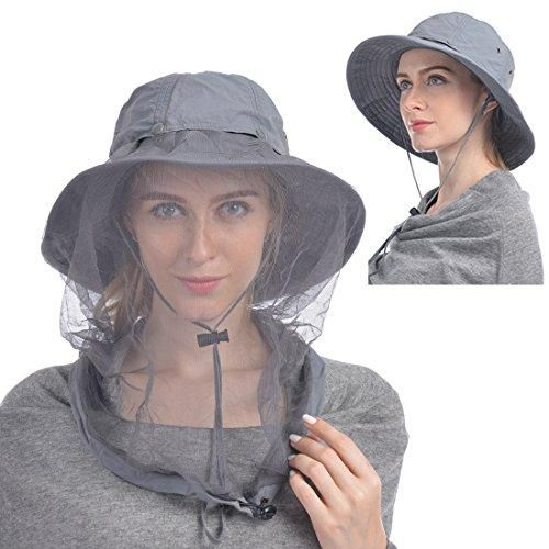 b41583f6 UShake Mosquito Head Net Hat, Safari Hat Sun Hat Bucket Hat with Hidden Net  Mesh