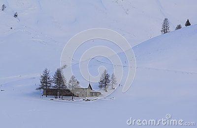 A house in the snow field