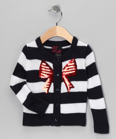 Take a look at this Girls Rule Blue Stripe Bow Cardigan - Toddler & Girls by Blow-Out on #zulily today! #fall
