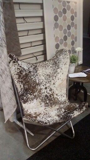 Brown hair butterfly chair from Take Your Seat #pony #retrofurniture #leather #trendingfurniture
