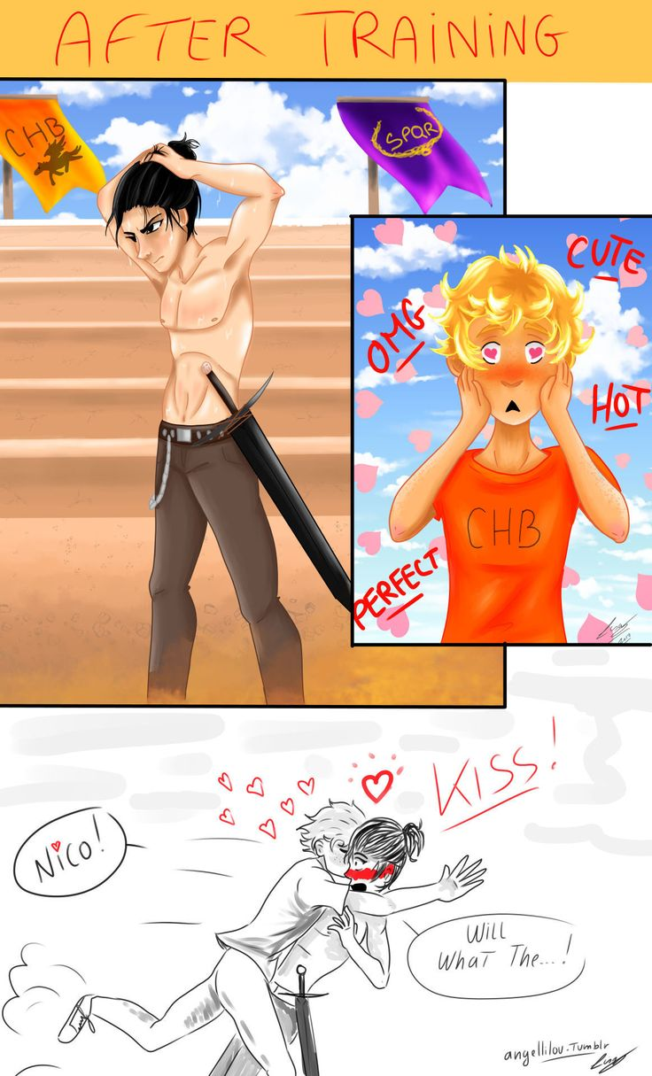A little comic of my 2 babies I draw during ~5 hours and my hand is dead ! I'm really happy about the result. I hope you too ! It is my version if Solangelo's first kiss was like Viktuuri's kiss ! (but in greek's version ^^) full pictures : Please...
