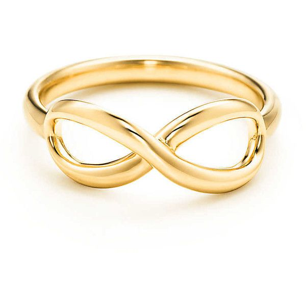 Tiffany Infinity Ring ($875) ❤ liked on Polyvore featuring jewelry, rings, 18k gold jewellery, 18k ring, gold rings, gold jewelry and yellow gold jewelry