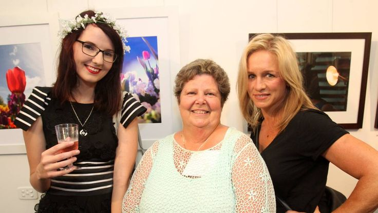 Alex Gallagher, Maggie Scott Mona Coleman at the TAFE Illawarra photography exhibition launch.
