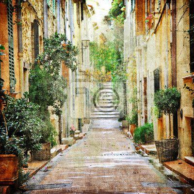 Urokliwe uliczki śródziemnomorskich, artystycznej obrazu na obrazach myloview. Najlepszej jakości fototapety, kolekcje myloview, naklejki, obrazy, plakaty. Chcesz ozdobić swój dom? Tylko z myloview!