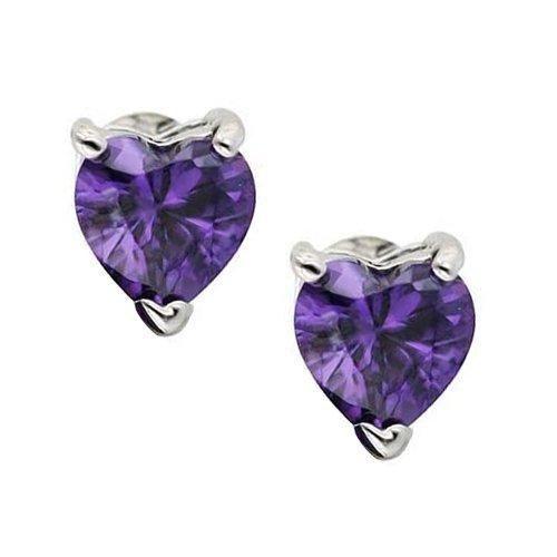Bling Jewelry Sterling Silver Amethyst Color CZ Heart Stud Earrings