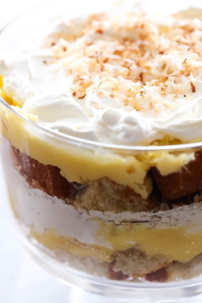 COCONUT CREAM PIE TRIFLE... layers of coconut pie filling, coconut sweetened whipped cream and coconut pound cake combine to make one unbelievably yummy treat!