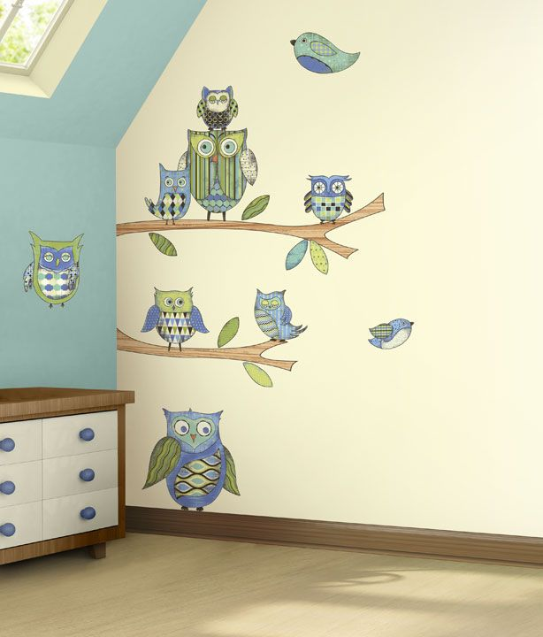 cute peel and stick owl wall stickers!