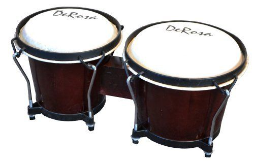 De Rosa Beginner BOG78-DB 7 and 8-Inch Bongo Drum (Dark Brown) by De Rosa. $32.63. Beginner and intermediate 7-Inch and 8-Inch lap bongos - You'll love this beautiful looking and sounding instrument from De Rosa! Features solid Asian ash hardwood construction with black/chrome rims and real animal skin heads - Solid, durable construction that lasts! Both bongos are tunable. Available in Dark Brown or Natural finish. Designed by professionals, for professionals!