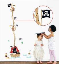 Navio pirata dos desenhos animados altura régua adesivos de parede para quartos dos miúdos dos meninos gráfico de crescimento estadiômetro design vinil removível Corsair(China (Mainland))