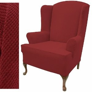 If you need to add style and class to the room, this stretch pique warm maroon wingback chair slipcover is a perfect choice. It is a one piece construction which fits snugly to entire wing back chair seat and back. It has elastic band in just the right places for a better fit. It also has a removable T-cushion and will fit a chair with wings up to 12 inches deep and 42 inches back height.
