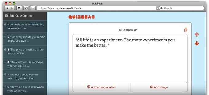 Quiz Bean, para crear quizes on line