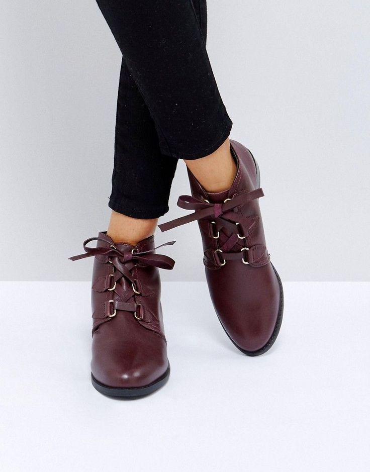 ASOS ALFIRA Leather Lace Up Boots - Brown