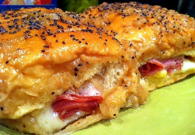 Hawaiian roll ham and cheese Love the addition of brown sugar!!!!