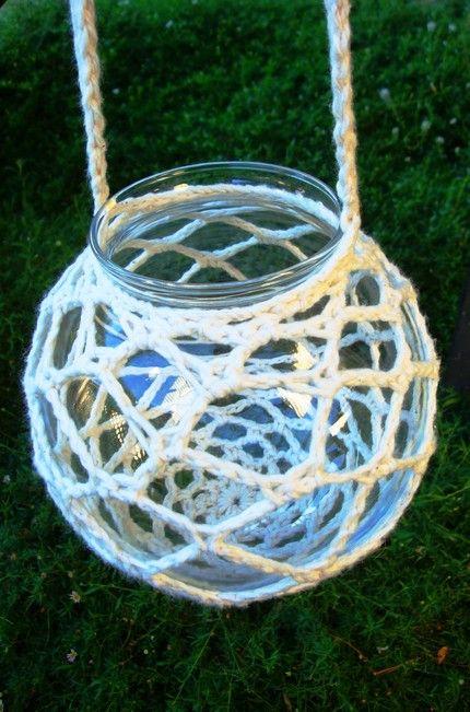 how to crochet a hanger for a candleholder/plant holder etc