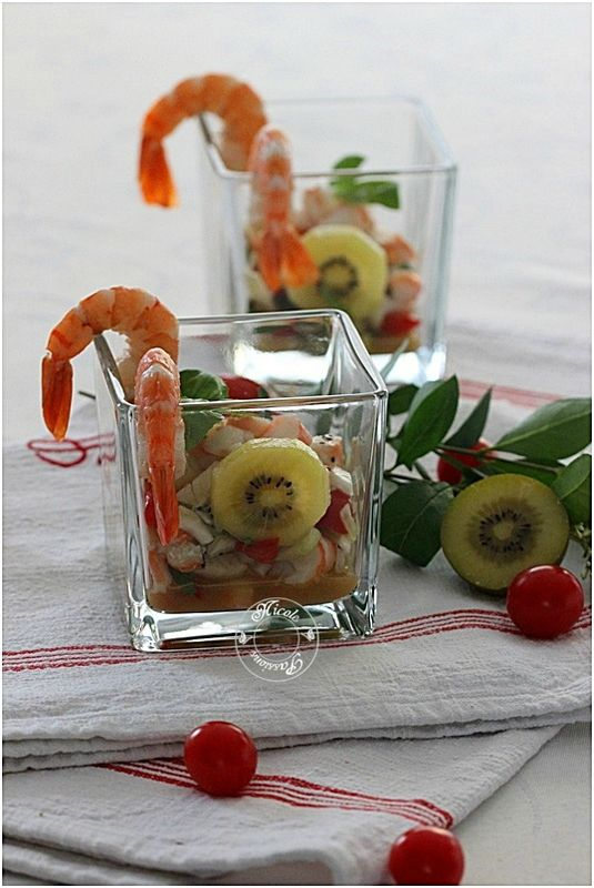 Verrine crevettes, kiwis, tomates