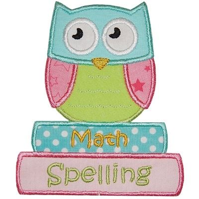 School Owl Applique - Planet Applique Inc