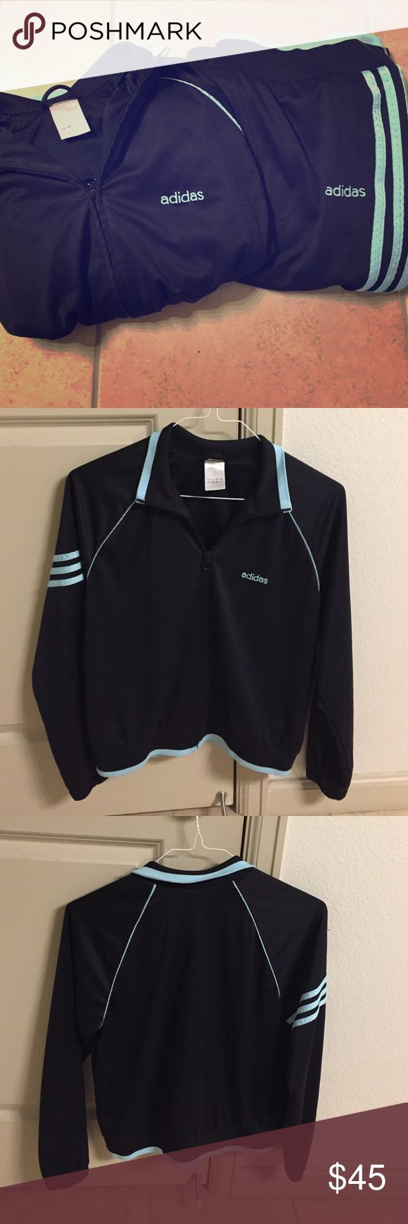 Aqua blue stripes Adidas outfit! This is a black with aqua blue stripes, size large Adidas outfit. Both items are size large and have no rips or flaws. Perfect for working out in the chilly weather or relaxing at home! If you would like the jacket or pants only, please let me know :) REASONABLE offers considered. No lowballing!!! Don't forget to bundle! 30% off 2+ bundles! Adidas Pants Track Pants & Joggers