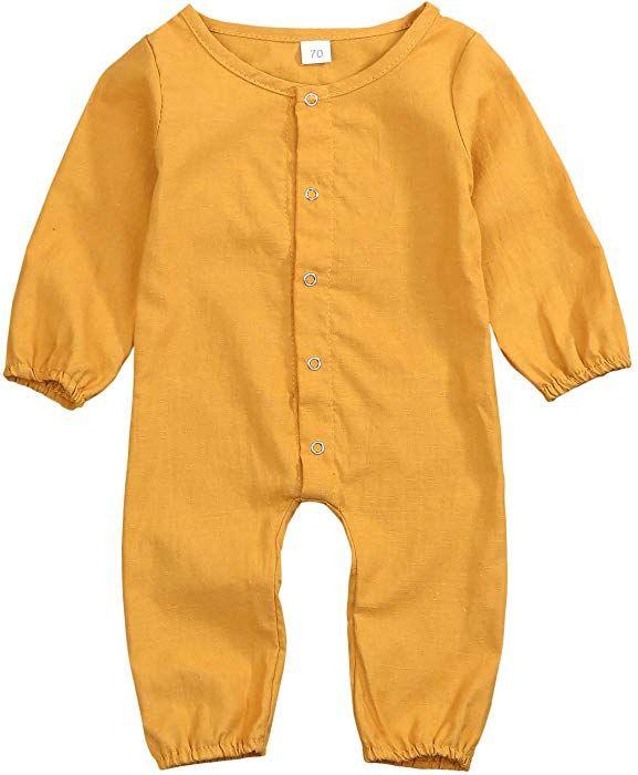 7da460a72c AmazonSmile  Mini honey Infant Toddler Baby Girls Boys Orange Long Sleeve  Button Up Romper Jumpsuit Antumn Outfit Clothes (0-3 Months