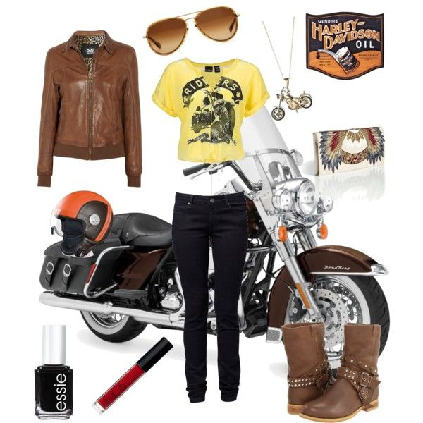 Biker chick!  this reminds me of the days i used to ride my daddys harley with him!  :((