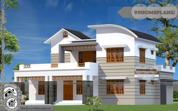 Small Two Story Floor Plans And Wide Space Balcony Home Design Ideas House Design Modern House Plans Four Bedroom House Plans