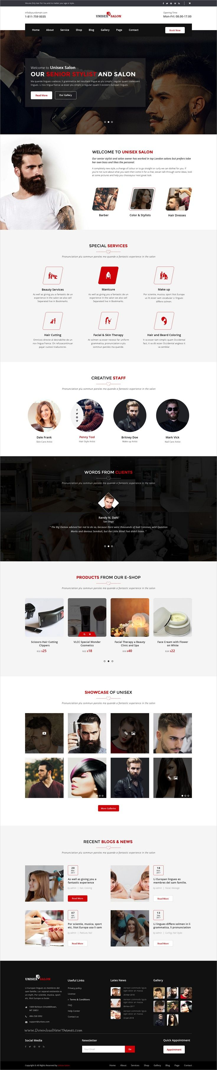 Unisex is clean and modern design #PSD template for #barbershop, #hair spa and beauty #salons website with 3 homepage layouts and 27 layered PSD files download now➩ https://themeforest.net/item/unisex-salon-barber-shop-hair-spa-and-beauty-salon-psd-template/19797130?ref=Datasata