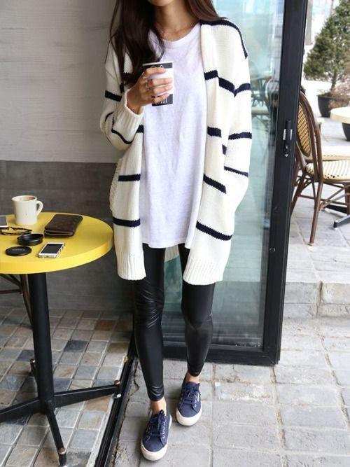 striped cardigan + oversized white tee + black leather leggings + navy Superga sneakers