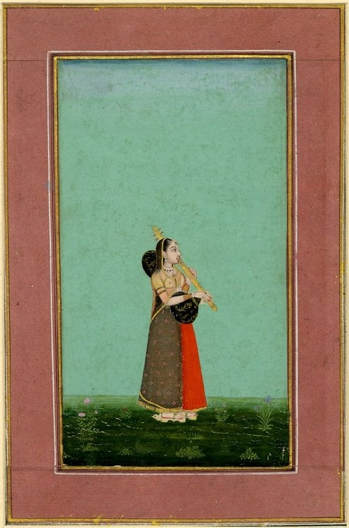 Woman playing a vina, Mughal painting, late 17th C