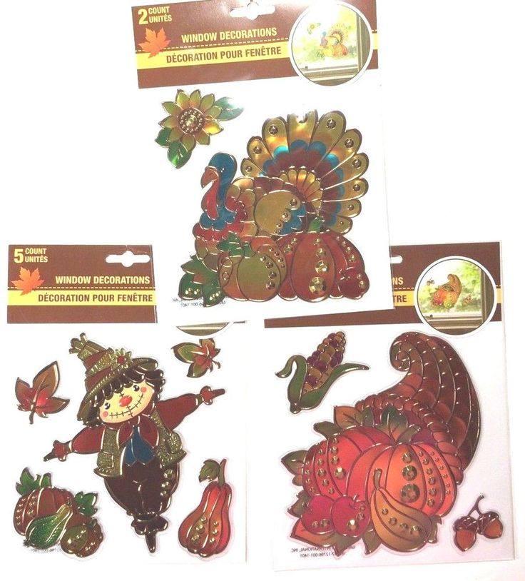 Window #Decor #FALL/ #THANKSGIVING DECOR Gr8t 4 #Wreaths: Stain Glass Looking Clings #GMA #today #tgit #scandal #htgawm #liveKellyandMichael #Thanksgiving