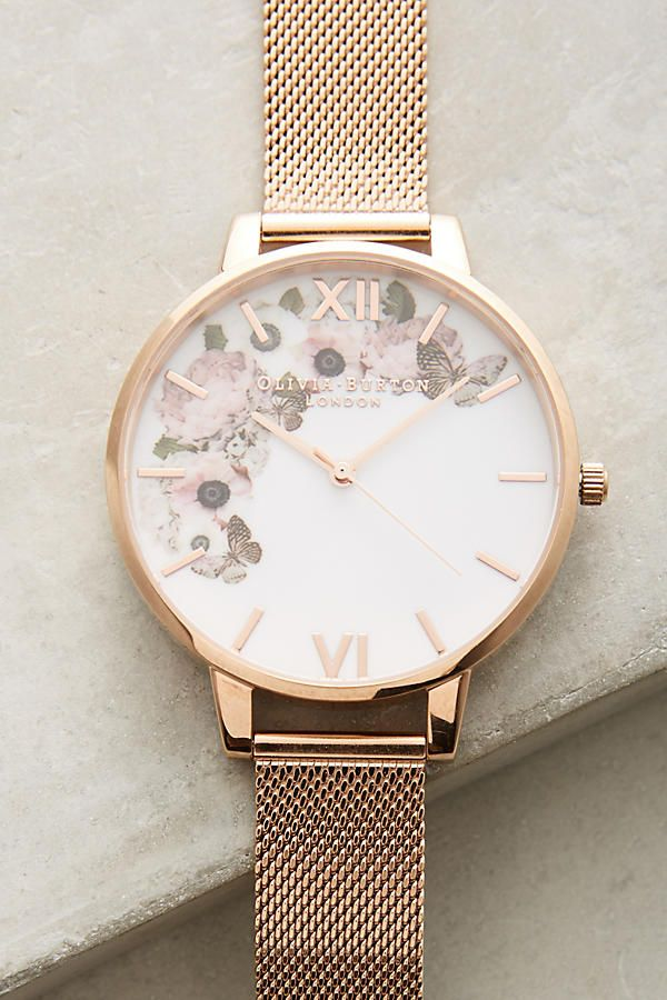 Gold, white and floral detail watch