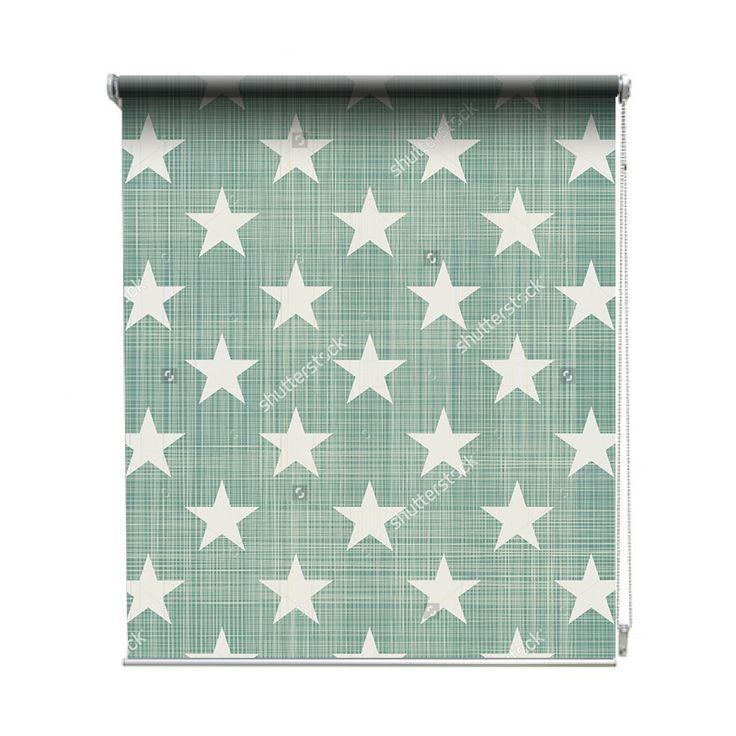 Rolgordijn All stars | De rolgordijnen van YouPri zijn iets heel bijzonders! Maak keuze uit een verduisterend of een lichtdoorlatend rolgordijn. Inclusief ophangmechanisme voor wand of plafond! #rolgordijn #gordijn #lichtdoorlatend #verduisterend #goedkoop #voordelig #polyester #sterren #groen #turquoise #ster #babykamer #baby