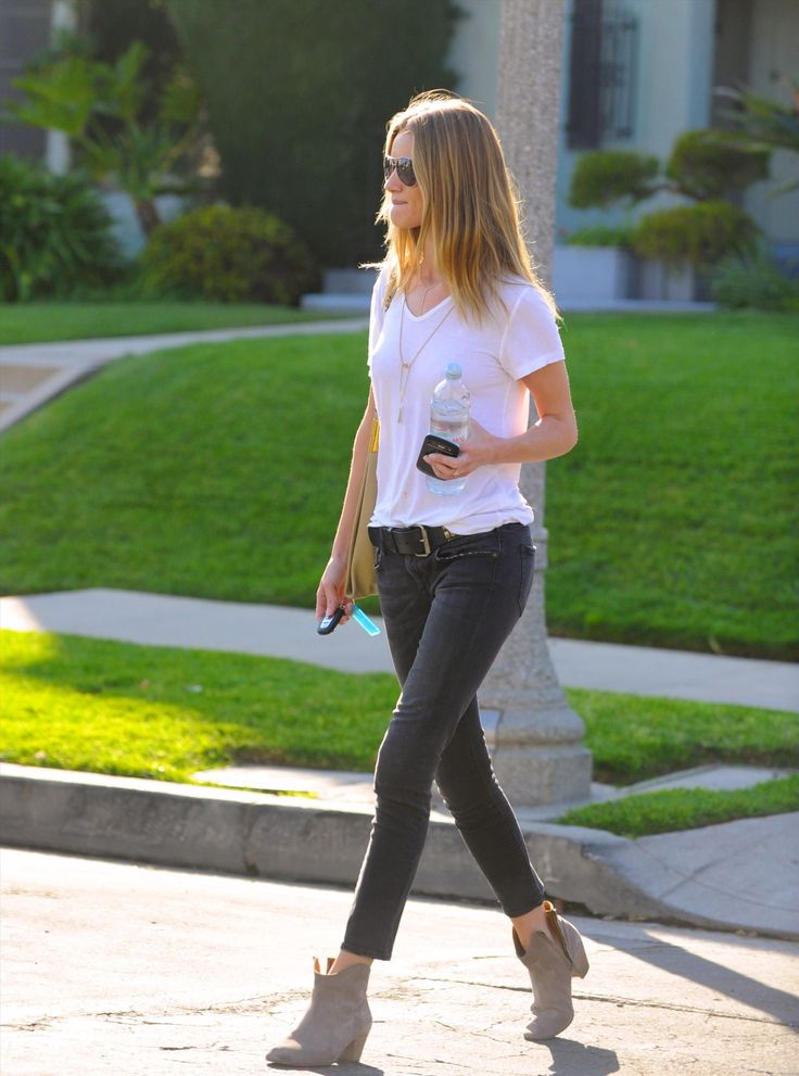 White shirt + jeans + booties!