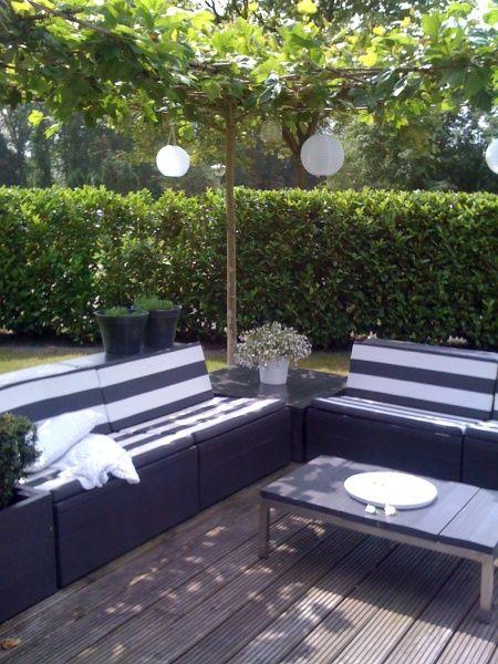 stylish black and white seating area