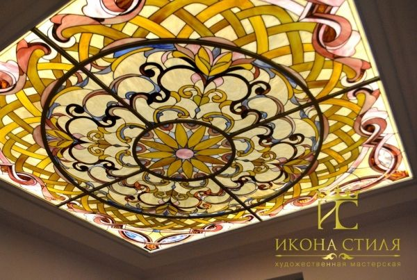 Ornamental Tiffany stained glass ceiling in the bathroom. #stainedglass #interior #design #decor #tiffany #ceiling #bathroom