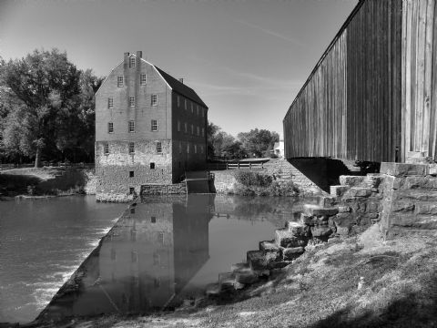 The Bollinger Mill and Covered Bridge located in Burfordville, MO.  Photo by Aaron Altenthal: Photo