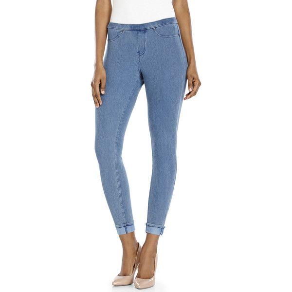 HUE Medium Wash Cuffed Skimmer Denim Leggings ($22) ❤ liked on Polyvore featuring pants, leggings, grays, denim leggings, grey cotton leggings, stretch jean leggings, stretch jeggings and elastic waist denim leggings