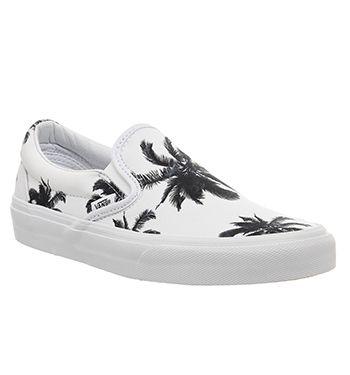 Vans Classic Slip On Shoes Palm Print White Exclusive - Unisex Sports
