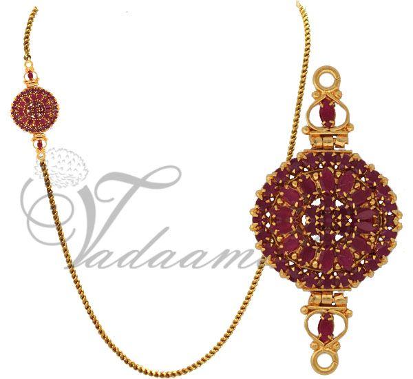 Ruby stones side pendant with gold plated chain  http://www.vadaamalar.com/jewelry/jewelry-sets-online/ruby-emerald-sets/kodi-mugappu.html