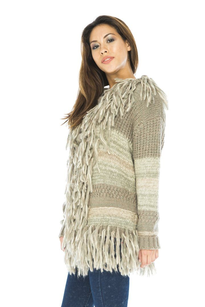 Are you a fringe fanatic?  Then cozy up with this comfy sweater!  Artistic, boho style.