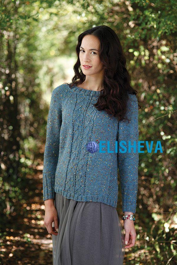 Изумительно красивый пуловер спицами с регланом от Artesano yarns из твидовой пряжи | Блог elisheva.ru
