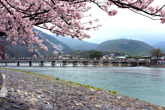 Located on the outskirts of Kyoto, the district of Arashiyama is home to many attractions, including the Sagano Romantic Train, Togetsukyo Bridge and the Bamboo Forest.