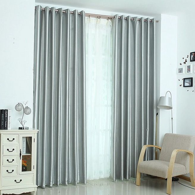 thermal light insulation full blackout curtain lining silver color