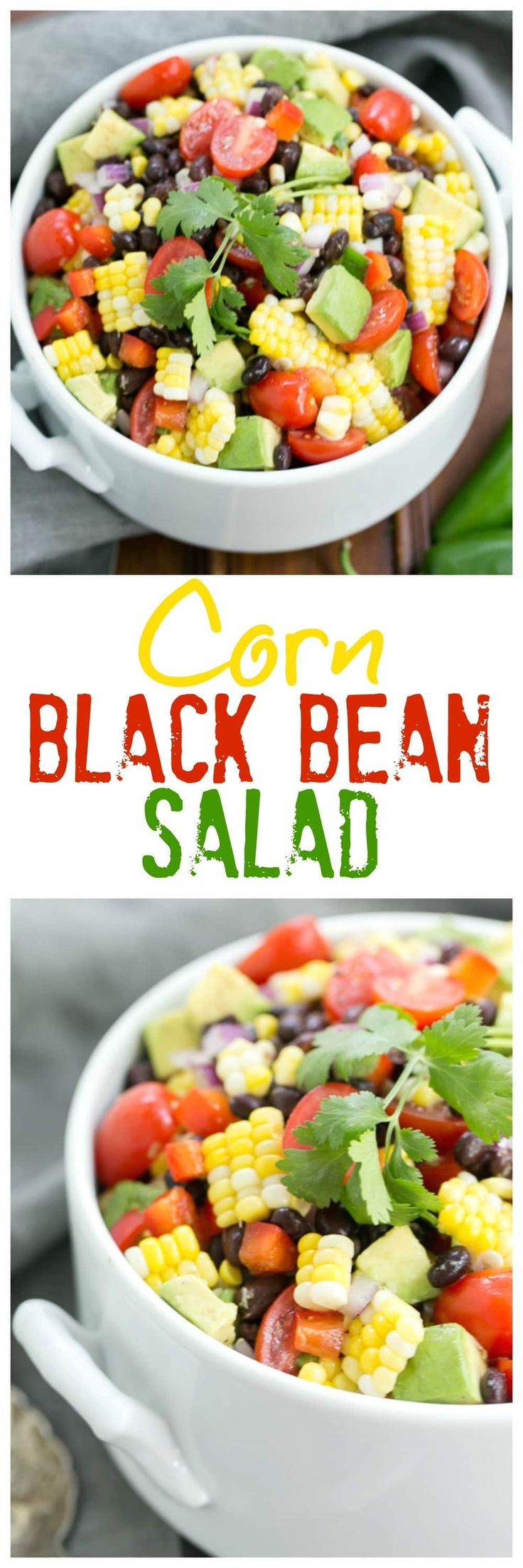 Corn and Black Bean Salad | Fresh sweet corn, black beans and avocados create the foundation for this delightful salad @lizzydo