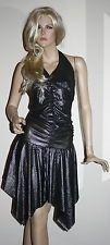 Abito nero argento ballo tango salsa latino xs s m 38 40 42 elasticizzato | eBay