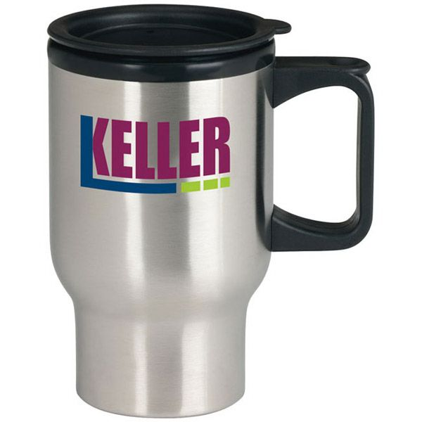 "Stainless Steel Trip Mug - 17 oz 45207 - Take 17 ounces of your beverage with you in this Stainless Steel Trip Mug with Drink-Thru lid. Stainless steel outer with polypropylene liner. Foam-insulation. Drink-thru lid. 3 1/2"" dia. x 5 5/8"" h. 17 ounce capacity when filled to rim. BPA free. Lid assembly included. #propelpromo"