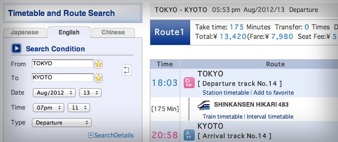 Japan Rail Pass - Plan with the Hyperdia online timetable