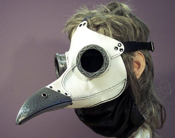 Ichabod, Steampunk Plague Doctor Mask in whitePlague Doctor, Tombanwel