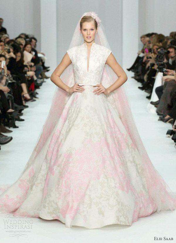 Elie Saab pink and white wedding dress Spring 2012